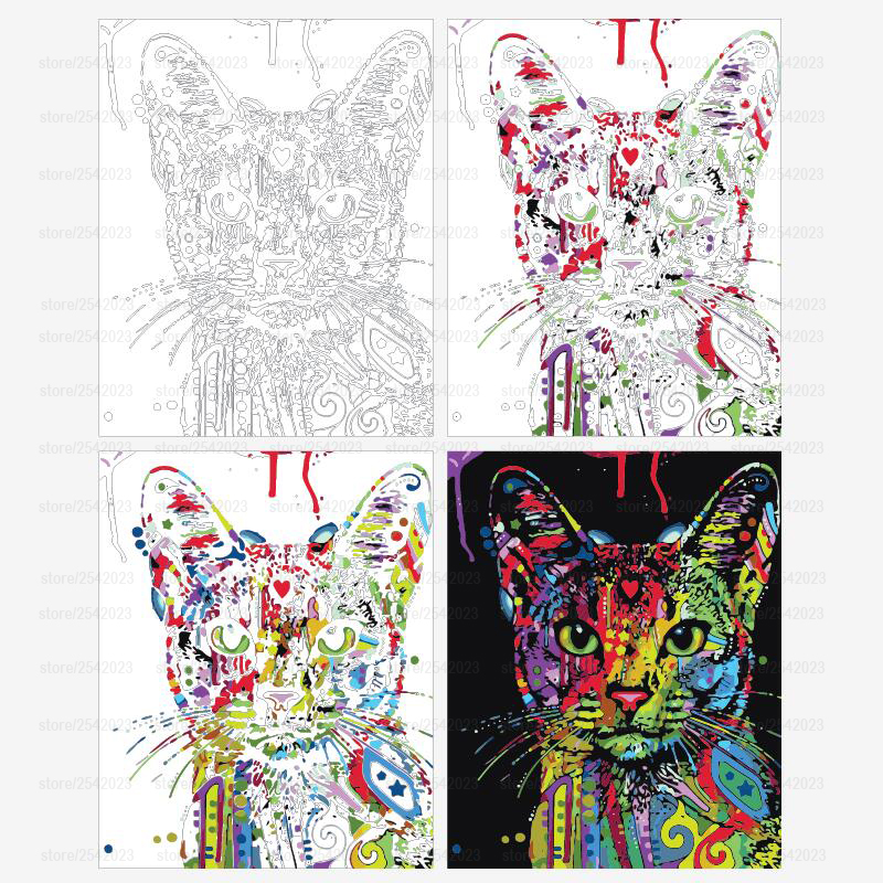 RUOPOTY Colorful Cat DIY Painting By Numbers Abstract Modern Wall Art Picture Kits Coloring Painting By RUOPOTY Colorful Cat DIY Painting By Numbers Abstract Modern Wall Art Picture Kits Coloring Painting By Numbers For Home Decor