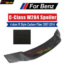 цена на For Mercedes Benz W204 Rear trunk wing rear spoiler 4-doors Carbon Fiber R-Style C Class C180 C230 C250 C300 C63AMG 2007-2014