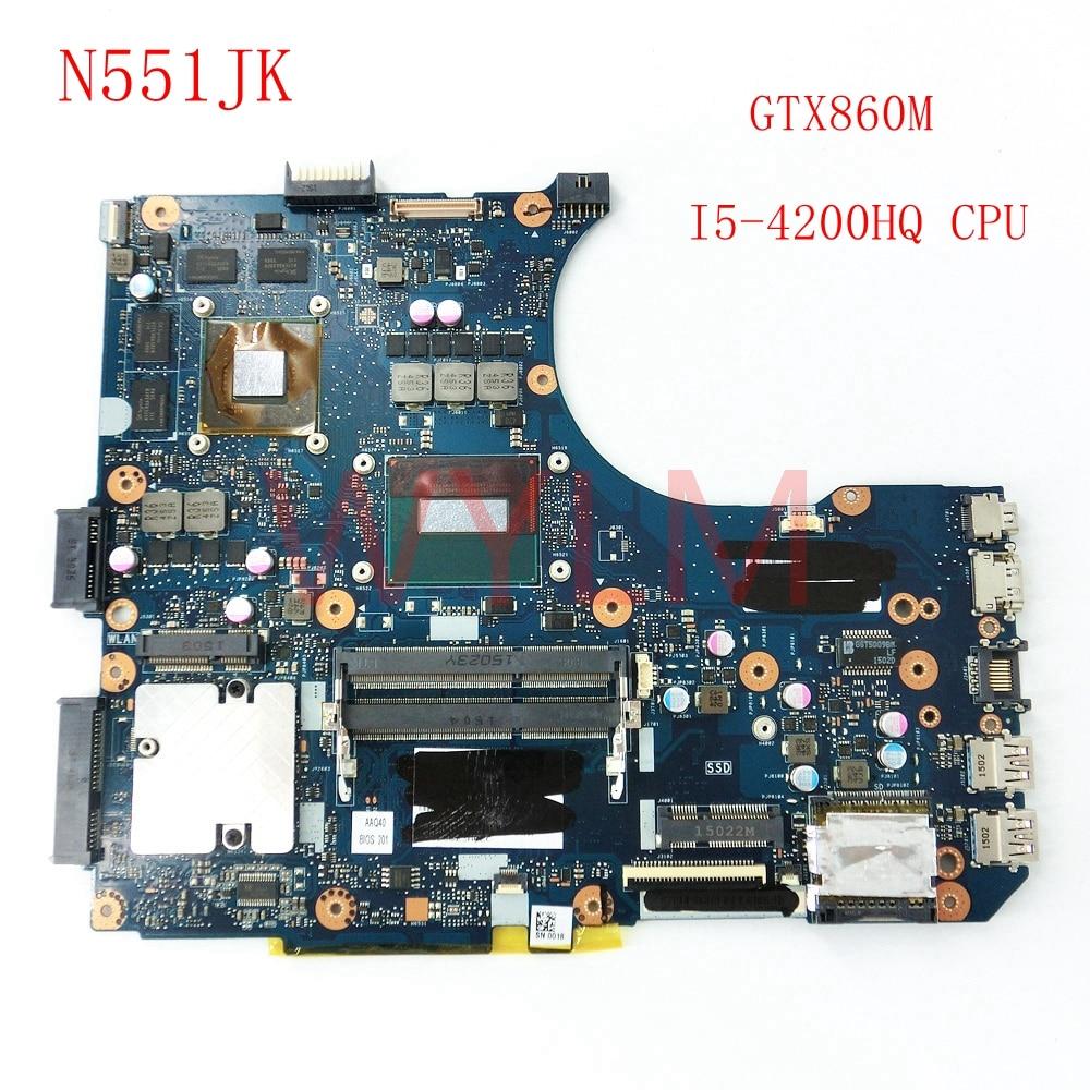 free shipping N551JK With I5-4200HQ CPU GTX860M mainboard REV2.0 For ASUS G551JK N551JM G551JM Laptop motherboard 100%Tested