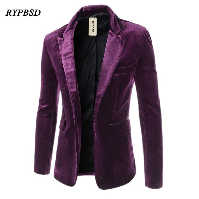 New 2019 Fashion Mens Velvet Jacket Casual Blazers Wedding Slim Fit Long Sleeve Turn Down Collar Purple M-XXL