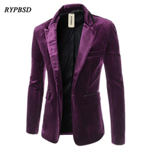 New 2019 Fashion Mens Velvet Jacket Casual Blazers Wedding Slim Fit Long Sleeve Turn Down Collar Purple M-XXL