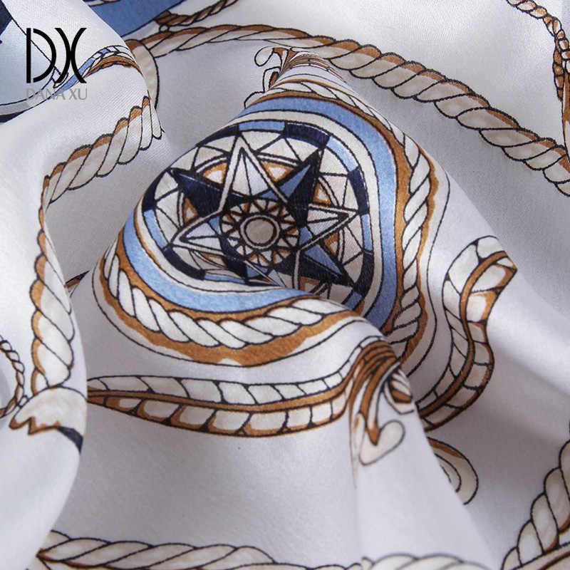 Bufanda de seda cuadrada chal largo para mujer bufandas flourales marca de lujo Bandana silenciador hijab cara escudo playa manta foulard