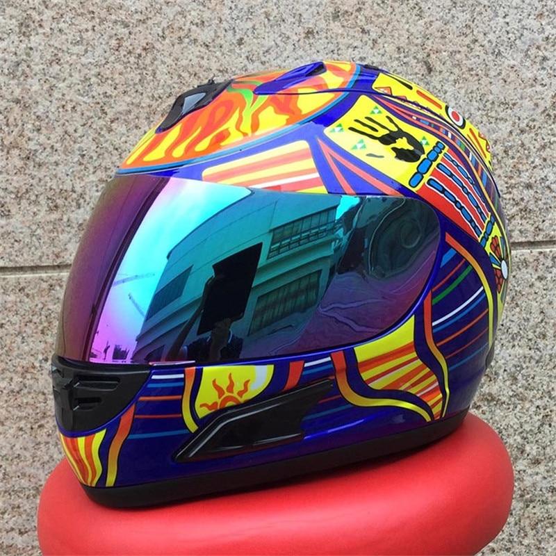 Top Brand MALUSHUN Cool Men Blue Motorcycle Helmet Five Continents Number 46 Pattern Motocicleta Cascos Para