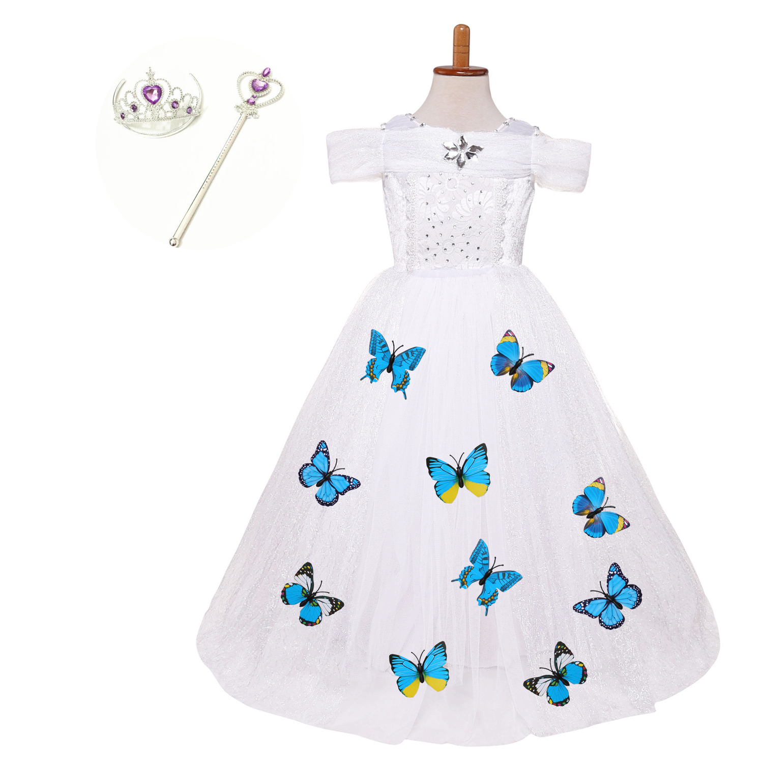 Toddler Birthday Party Dresses Christmas Carnival Costumes for Children Kids Fancy White Dress with Butterflies Clothes Set trendy kids costumes girl maid cosplay fancy dress stage performance clothes children fantasia carnival costumes