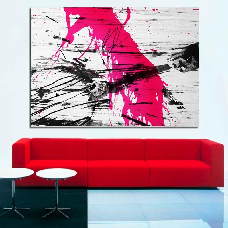 Graffiti Gitara Sənəti Qırmızı Modern Mücərrəd Rəsm Qonaq - Ev dekoru - Fotoqrafiya 1