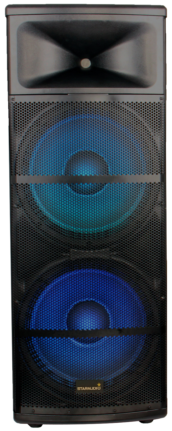 dual pro 5000W dual 15 powered pa party show speaker usb sd bluetooth led light 2ch vhf wireless microphone system