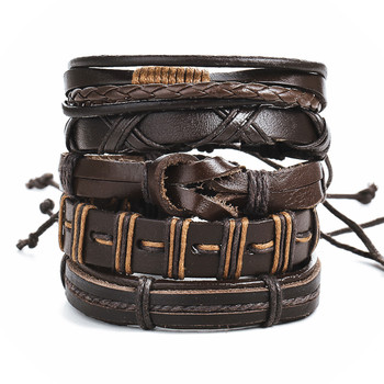 Mountaineer Fashionable Survival Braided Leather Campers Multilayered Chain