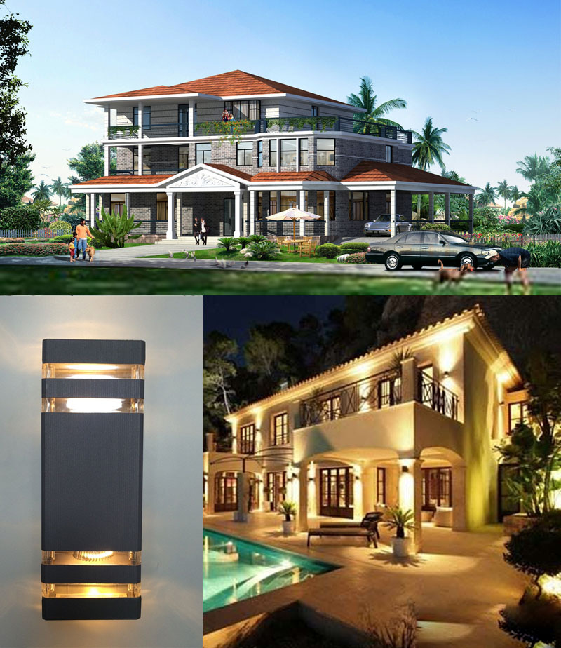6pcs/lot Outdoor Wall Light 8W Up Down Wall LED Porch Lights Waterproof IP65 Ac85 265v Warm White Outdoor Lighting Wall Lamps