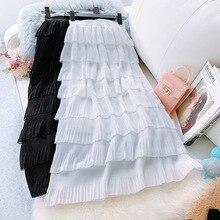 AcFirst Spring Women Fashion White Black Skirt High Waist Ruffles Pleated Ankle Length Long Skirts