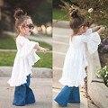 2016 venda Quente varejo crianças meninas ruffles vestidos menina roupa do bebê para a primavera eo verão Do Vintage branco 3-7 T