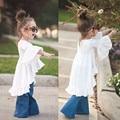 2016 venta Caliente muchachas de los niños al por menor de La Vendimia blanco riza los vestidos de bebé ropa de la muchacha para la primavera y el verano 3-7 T