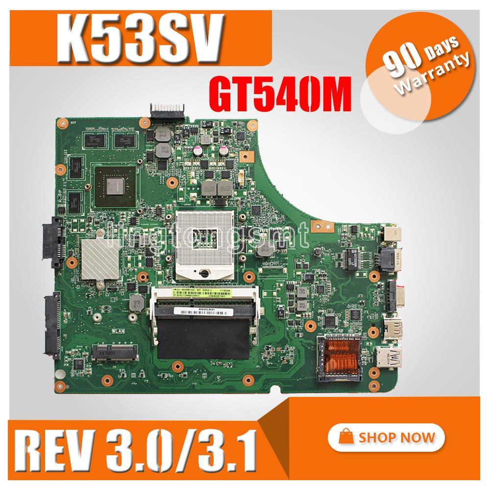 K53SV Motherboard REV:3.0/3.1 For ASUS K53SV A53S K53S X53S P53S K53SC K53SJ K53SM Laptop Motherboard GT540M 8pcs Video Memory