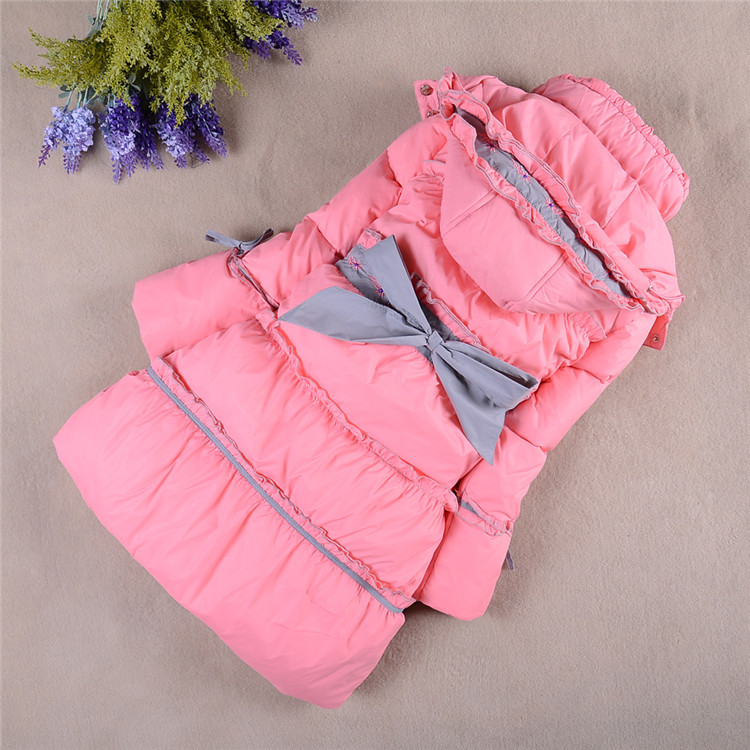 ФОТО New 2015 Children Winter Clothing Outdoor Girls Down & Parkas Fashion Beautiful Coat Warm Jacket For Female Child