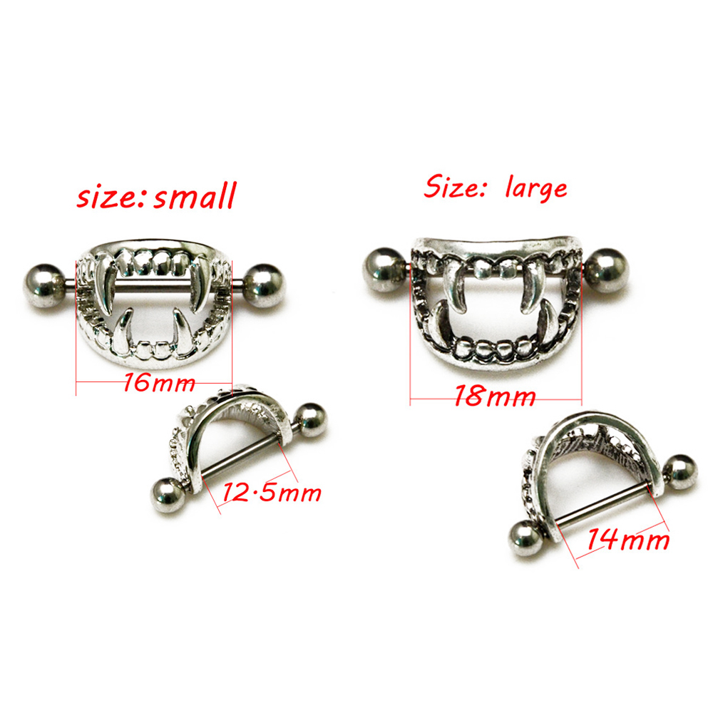 Pair of 14G Stainless Steel Barbell Love Bite Fangs Vampire Nipple - Fashion Jewelry - Photo 2