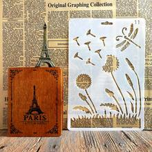 Kind of Dandelion Dragonfly Stencils for DIY Scrapbooking Plastic Handmade Template Crafts Art Diary Decor Painting Spray Tool