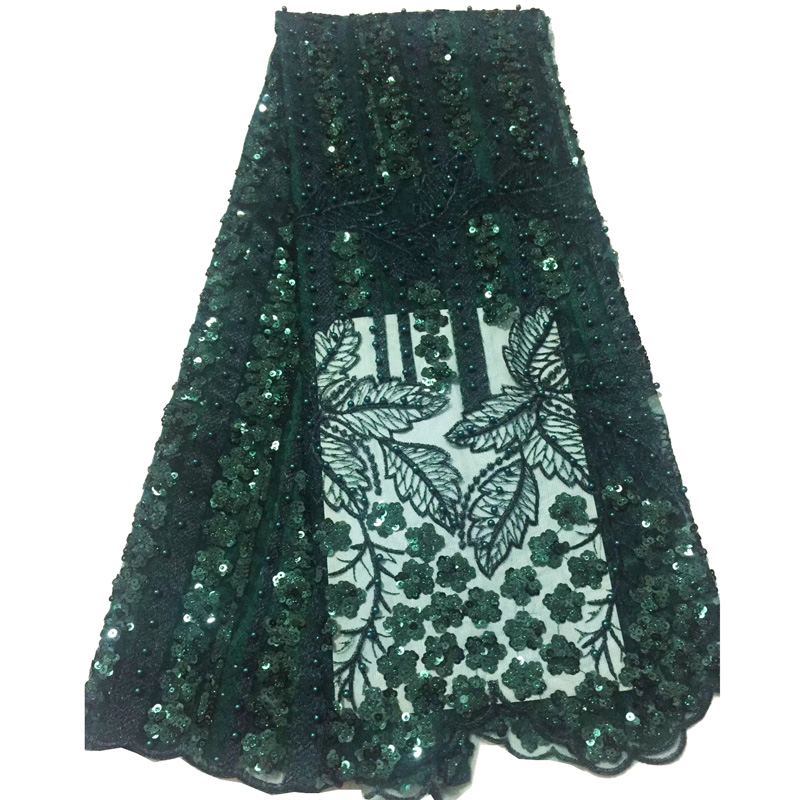 (5yards/pc)  high quality shining African sequins French net lace fabric in emerald green with beads for party dress FLC897(5yards/pc)  high quality shining African sequins French net lace fabric in emerald green with beads for party dress FLC897