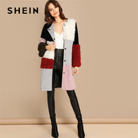 SHEIN Multicolor Single Breasted Color Block Teddy Knee Length Faux Fur Long Sleeve Coat Winter Modern Lady Women Coat Outerwear