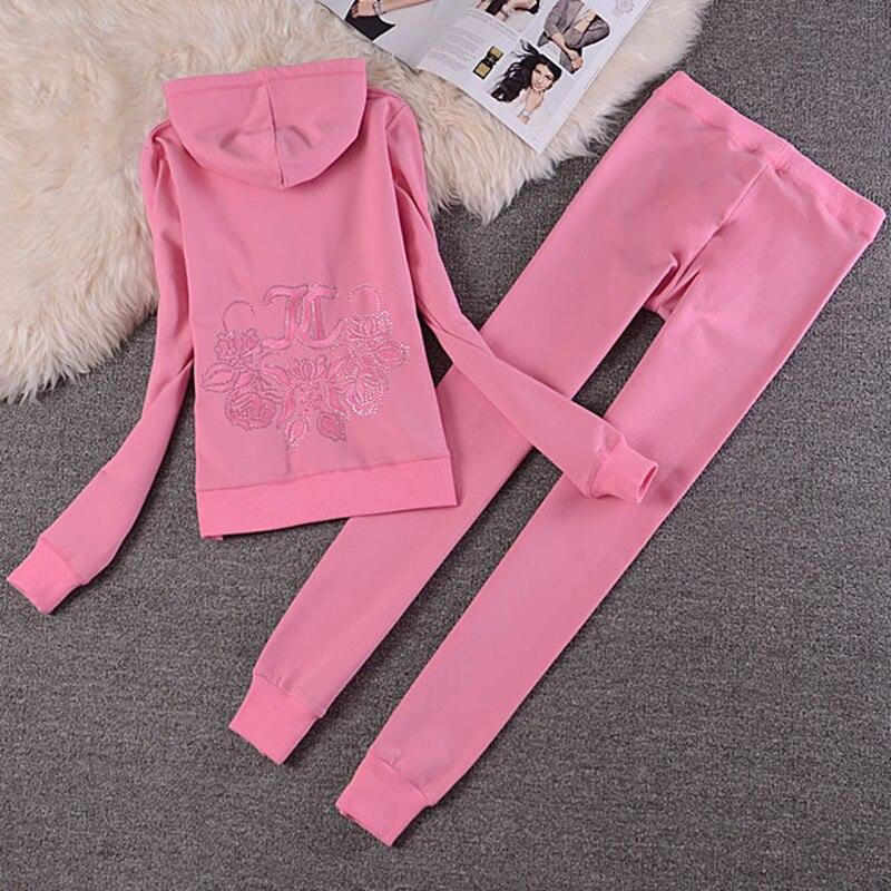 Mujeres Pantalones 2 Y Primavera Green invierno Mujer pink Algodón white Pone Black Largas ink Con Capucha Unidades Delgado Cremallera otoño Deportivos Tracksu Señoras Trajes wTqxP0fw