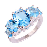 Fashion Jewelry Art Deco Exquisite Blue Topaz 925 Silver Ring Size 6 7 8 9 10 11 12 13 Women Rings For Party Wholesale Free Ship