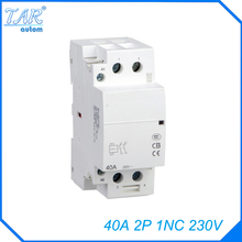 AC 220 / 240V Coil 40A 1NC 2 Pole 2P Household AC Contactor Modular 35mm DIN Rail Mount 40Amp rated current 40a 3poles 1 nc 1no 48vac coil voltage ac contactor motor starter relay din rail mount