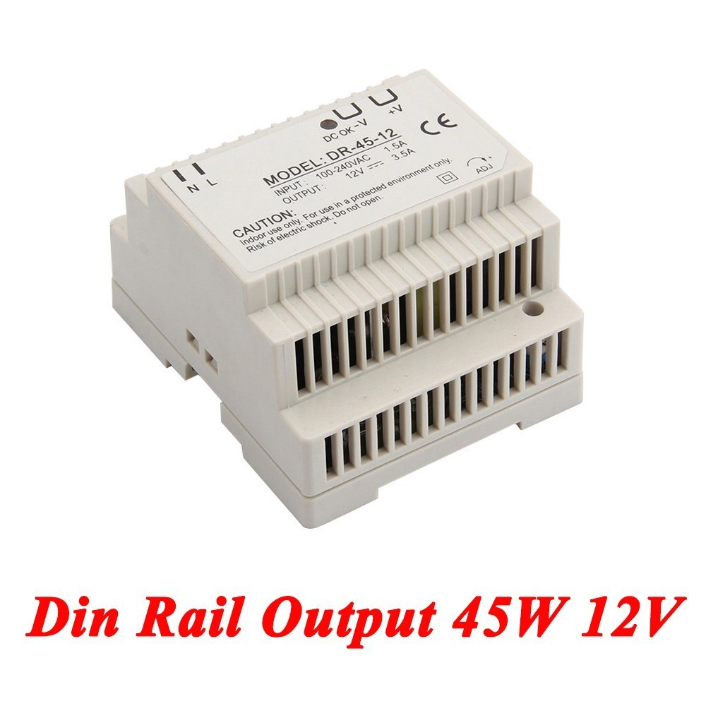 DR-45 Din Rail Power Supply 45W 12V 3.5A,Switching Power Supply AC 110v/220v Transformer To DC 12v,ac dc converter 5 pcs lot dc 12v adapter driver module ac 90v 240 110v 220v to dc 12v 3 5a switching power supply 36w ac to dc power converter