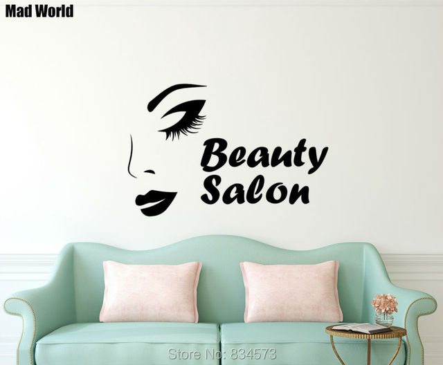 Mad World Woman Beauty Salon Make Up Face Wall Art Stickers Wall Decal Home  DIY