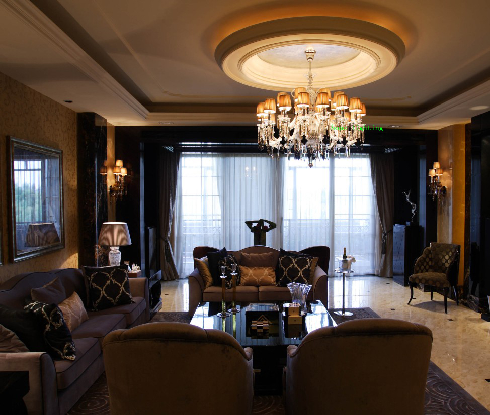 Hall Clic Chandelier Living Room Double Layer Chandeliers Modern Crystal Lights Led Hotel In From