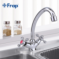 Frap Classic Style Kitchen Faucet Cold And Hot Water Mixer Tap Double Handle Torneira Cozinha 360