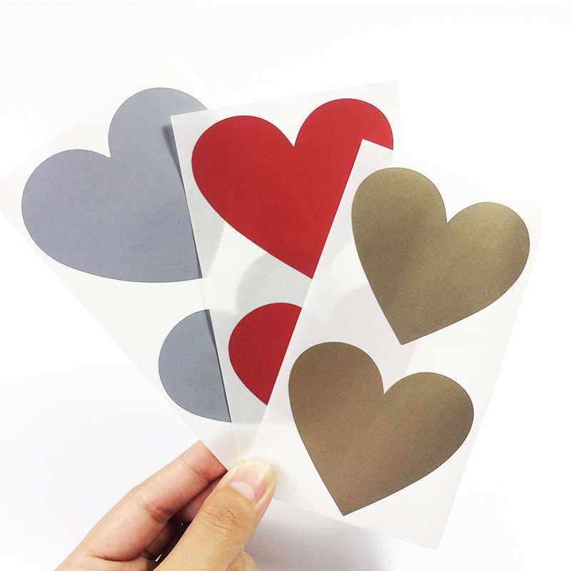 50pcs/lot Red Golden Silver Heart Scraping Sticker Multifunction Surprise DIY Gift Handmade Product Sticker Decoration Label