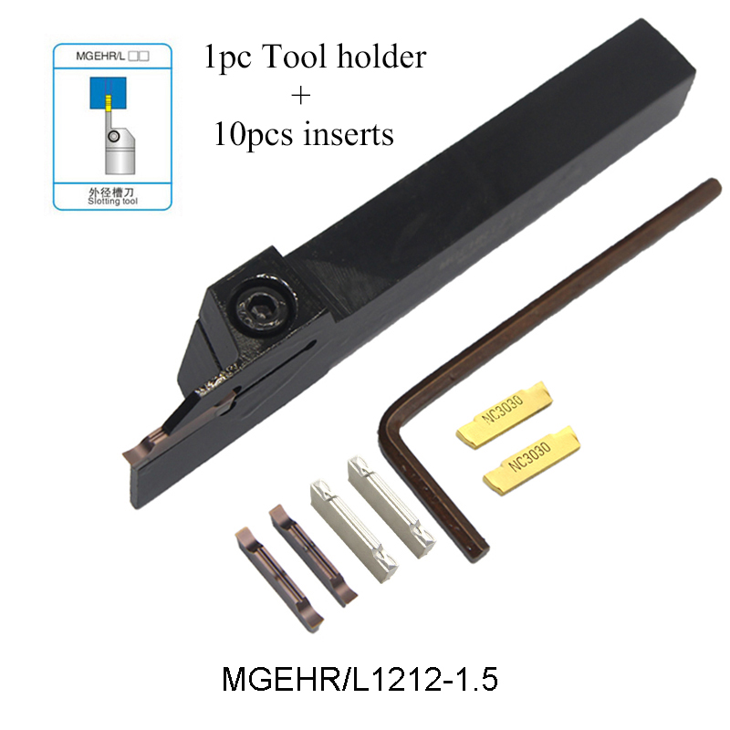 1pc MGEHR1212-1.5 MGEHL1212-1.5 Tool Holder And 10pcs MGMN150 G PC9030 NC3030 H01 Inserts Grooving Turning Tool Holder Set