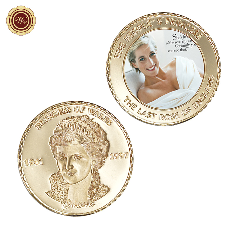 WR The People The Princess Diana Commemorative Metal Coin Collectible 999.9 Gold Plated The Last Rose of England Gift Coin