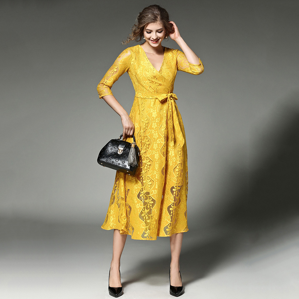 Womens Lace Floral Crochet Yellow Long Dress Elegant Three Quarter V Neck Bow Sashes Cocktail Party Dresses 2018 New AuraPicco