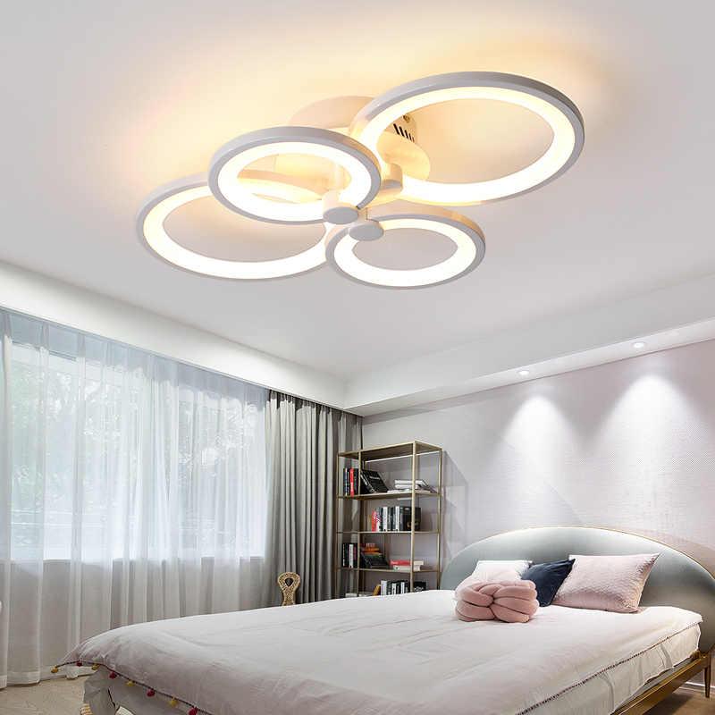 Double Glow LED Modern Lampu Gantung untuk Ruang Tamu Kamar Tidur Ruang Belajar Remote Controller Dimmable Lampu Gantung Langit-langit AC90-260V