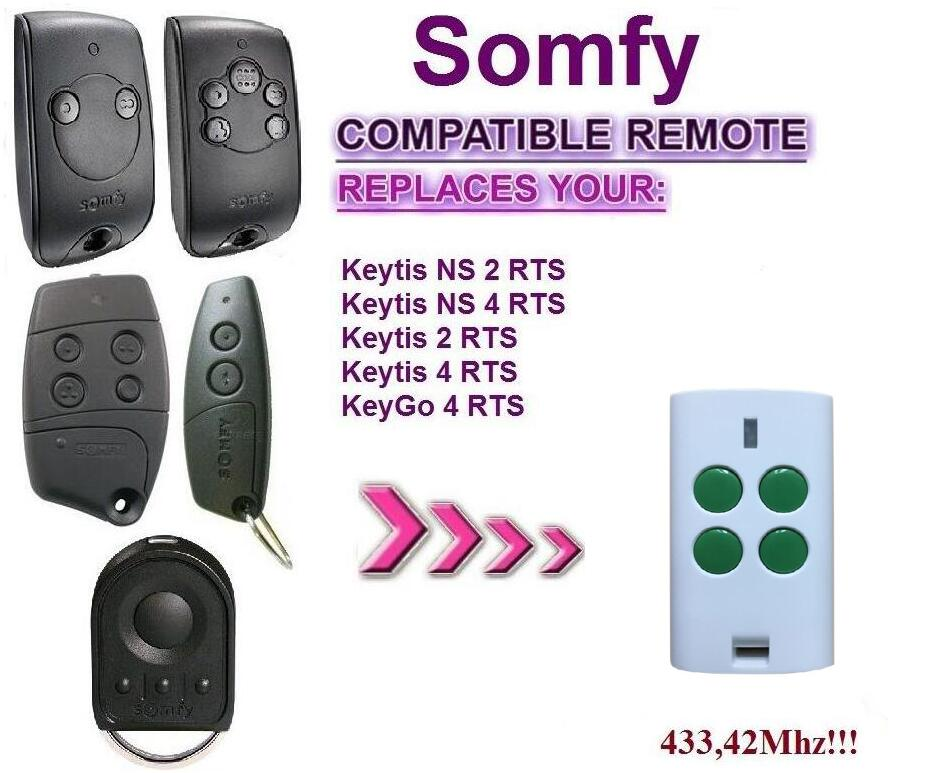 Aftermaket SOMFY Keytis NS 2 RTS, Somfy Keytis 4 NS RTS compatible remote control somfy telis 4 rts somfy telis 4 soliris rts compatible garage door remote control 433 42mhz free shipping