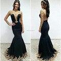 Fashion Scoop Mermaid Satin Lace Long Black Formal Evening Dresses Vestidos De Gala 2017 Avondjurken Zipper-Up Court Train 59102