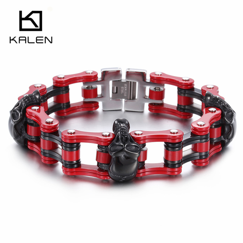 Kalen Punk Skull Biker Bracelet & Bangle Stainless Steel Red Bike Link Chain Bracelet For Men Gothic Rock Male Accessory Jewelry цена 2017