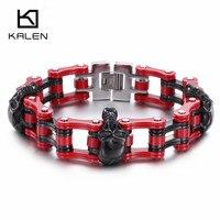 Kalen Punk Skull Biker Bracelet & Bangle Stainless Steel Red Bike Link Chain Bracelet For Men Gothic Rock Male Accessory Jewelry