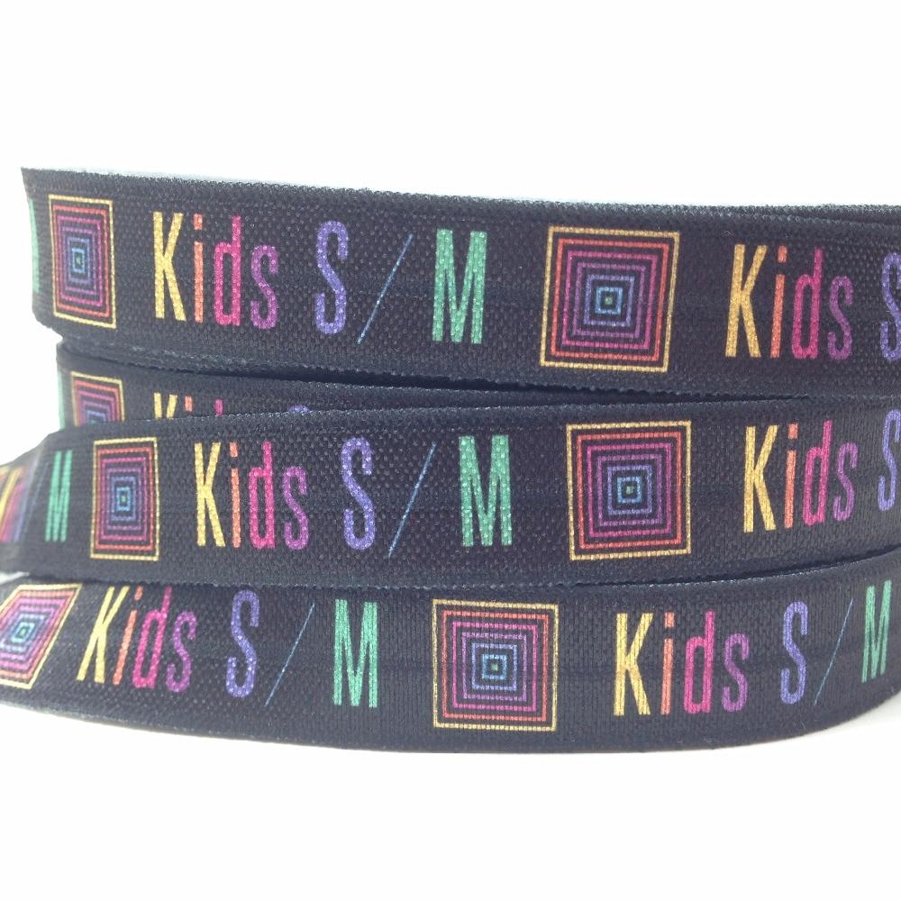 10 yards Black Kids S/M Print Fold Over Elastic 5/8 Lularoe Print FOE Ribbon for Girls Hair Tie DIY Headwear Hair Accessories