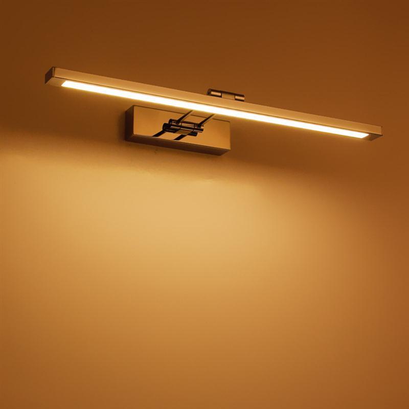 ФОТО 41CM 8W Minimalism Modern Stainless Steel Bathroom Mirror Lamp Waterproof Wall Lights Livingroom Bedroom Wall Lamp