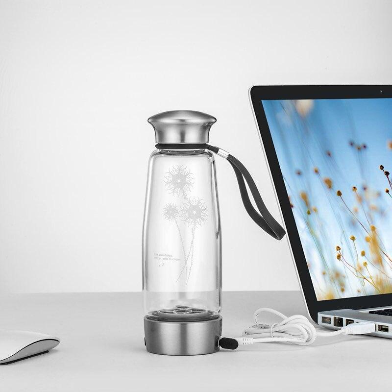 5 го поколения 400 мл водородная богач BPA бесплатно бутылка для воды перезаряжаемая креативная стеклянная бутылка для напитков здоровые инте... - 3