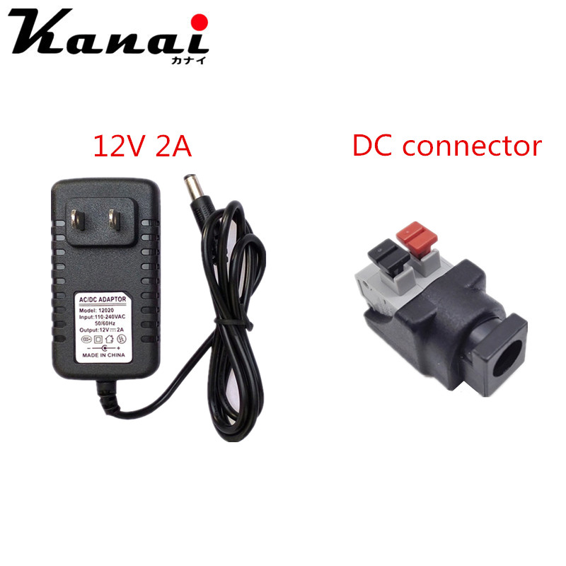 EU/US DC12V 2A 3A Adapter+DC Connector Plug Female For 5050 2835 3014 Warm/Cold White Led Strip