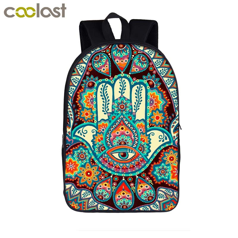 f6f14d1e4c13 US $16.96 39% OFF|Hamsa Fatima Hand / mandala / Buddha lotus flower  backpack women casual shoulder bag teenager girls school bag laptop  backpack-in ...