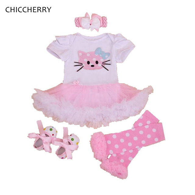 0cc194f7ec6b Hello Kitty Kids Dress Cartoon Tutu Toddler Lace Romper Headband Sets Girls  Party Dresses Roupa Bebe