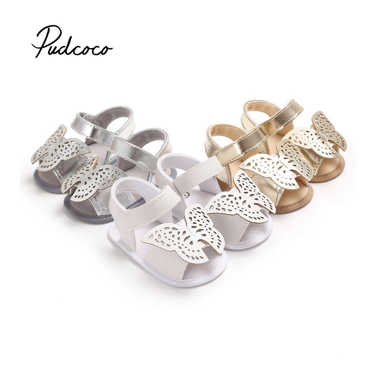 Pudcoco 2018 Newborn Baby Boys Girls Sandals Soft Sole Crib Shoes Cute Butterfly Summer Clogs