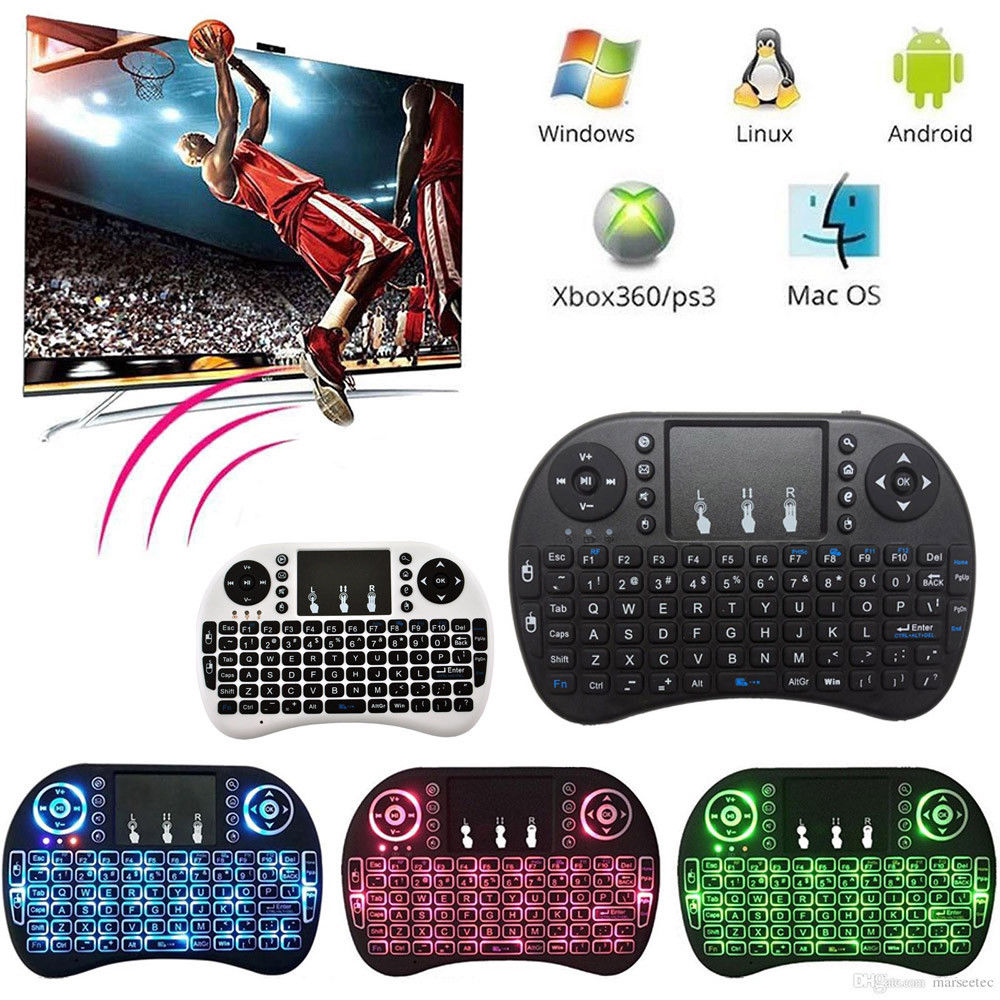 лучшая цена 2.4GHz Mini Wireless Remote Keyboard with Touchpad Mouse for Android TV Box 3 Color LED Backlight Rechargable Li-ion Battery