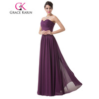 Free Shipping Women Fashion Floor Length Long Ruched Sweetheart Formal Evening Dress Gown Purple CL6273