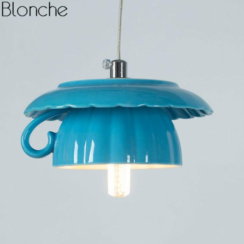 Nordique thé tasse théière pendentif LED lumières en céramique lampe à suspension Luminaire moderne lampe suspendue décor à la maison pour les appareils d'éclairage de cuisine