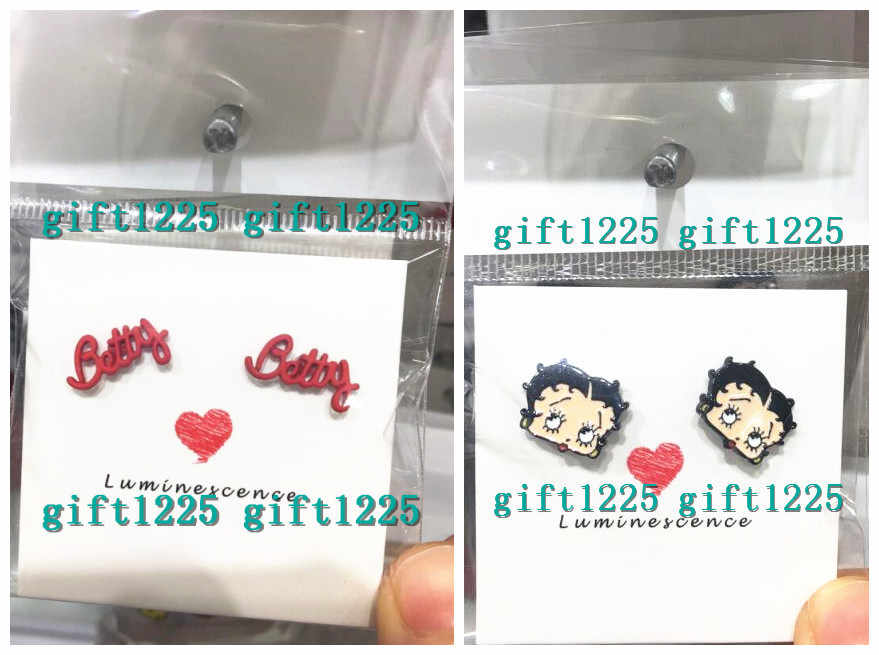 New 1pairs Betty boop women girl Fashion Cartoon Stud Earring Cute Earrings For Women girl party gifts M-01