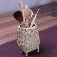 Handmade bamboo tea accessories canister desktop stationery cosmetic sundries storage box tea ceremony tools pen holder