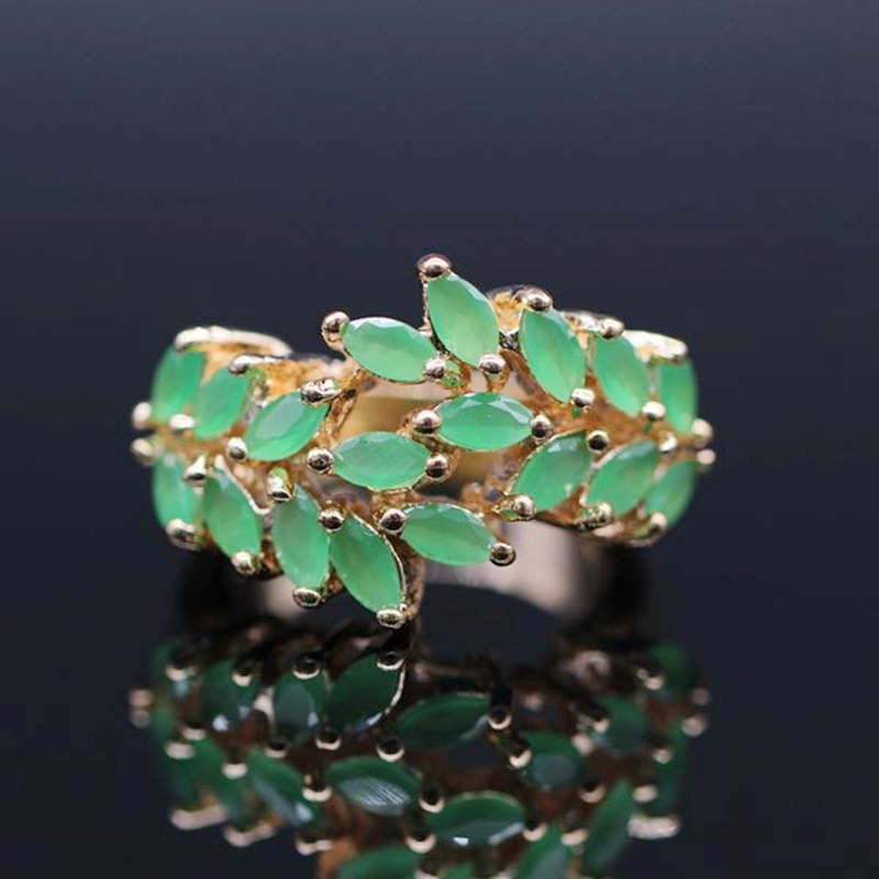 New Trendy Cute 18k Gold Plated Full Natural Ruby&Emerald Rings